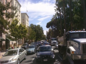 Truckers Clog L Street in Downtown Sacramento