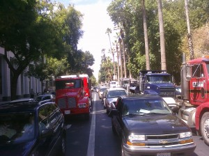 Truckers Also Clog N Street in Downtown Sacramento